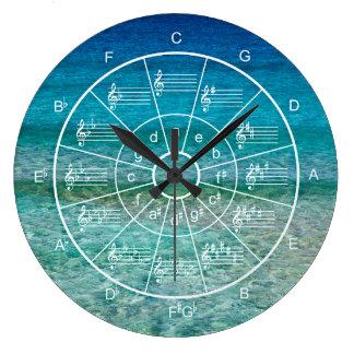 Relógio Grande Círculo de músicos do fundo do oceano dos quintos