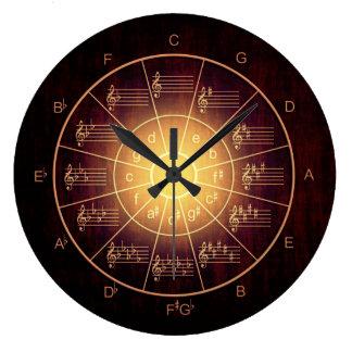 Relógio Grande Círculo de músicos marrons da cor dos quintos