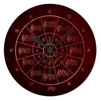 Relógio Grande Círculo dos quintos marrons/dos músicos cor