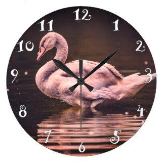 Relógio Grande Cisne bonita na água, pulso de disparo de parede