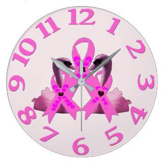 Relógio Grande Cisnes do rosa do amor da coragem do cuidado