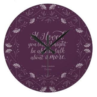 Relógio Grande Citações florais roxas do amor do livro de Jane