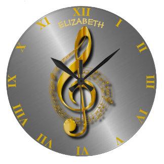 Relógio Grande Clef de triplo dourado com notas e sombras