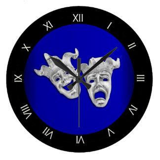 Relógio Grande Cobalto das máscaras do teatro da comédia e da