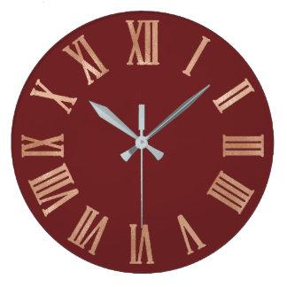 Relógio Grande Cobre cor-de-rosa Numers romano metálico do marrom