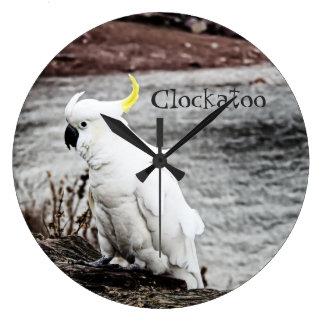 Relógio Grande Cockatoo Enxofre-Com crista (Clockatoo)