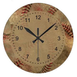 Relógio Grande Colagem do basebol do Grunge