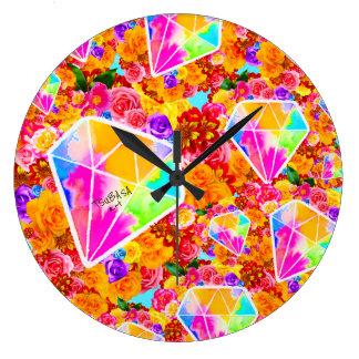 Relógio Grande Colagem florescida do diamante
