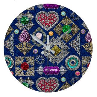 Relógio Grande Colagem lindo de pedra preciosa do broche da jóia