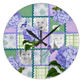 Relógio Grande Colagem roxa da edredão da foto de Instagram do