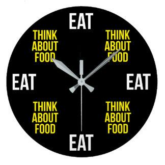 Relógio Grande Coma, pense sobre a comida - novidade engraçada