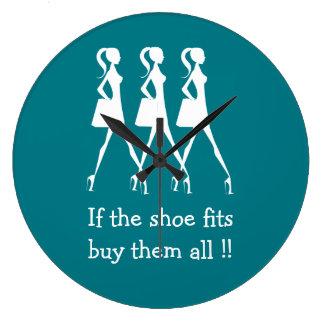 Relógio Grande Compradores engraçados dos calçados da diva