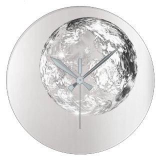 Relógio Grande Conceito de cristal da lua das cinzas de prata do