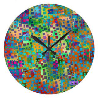 Relógio Grande Confetes coloridos, quadrados coloridos de w do