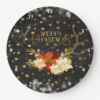 Relógio Grande Confetes florais dos Antlers do Feliz Natal