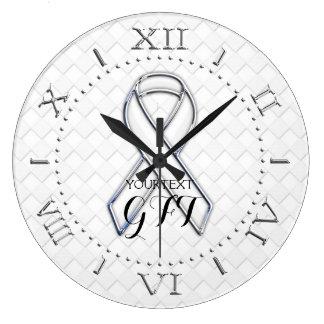 Relógio Grande Consciência branca personalizada da fita em a