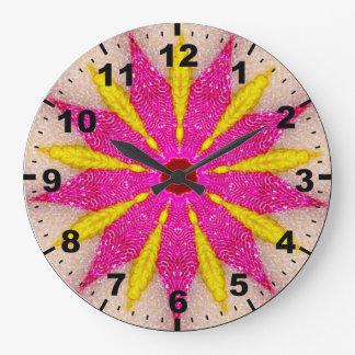 Relógio Grande ~ cor-de-rosa e amarelo ~Vibrant do Fractal da