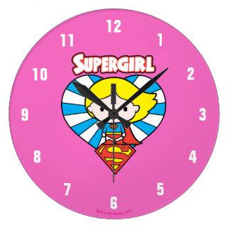 Relógio Grande Coração e logotipo de Chibi Supergirl Starburst