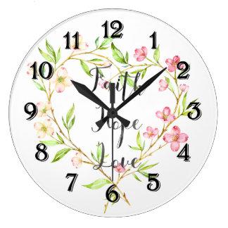 Relógio Grande Coração floral da aguarela do rosa do amor da