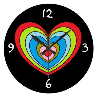 Relógio Grande Coração grande do arco-íris em pulsos de disparo