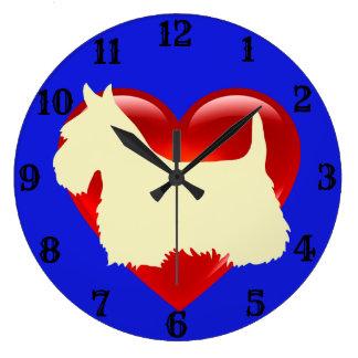 Relógio Grande Coração vermelho/azul da silhueta branca de