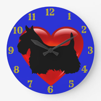 Relógio Grande Coração vermelho/azul da silhueta preta de Terrier
