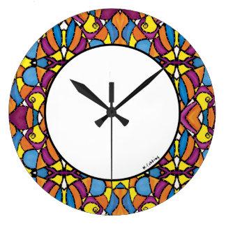 Relógio Grande Cores brilhantes abstratas modernas