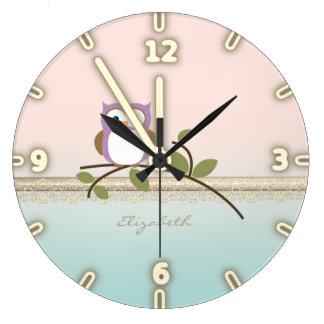 Relógio Grande Coruja bonito feminino adorável, personalizada