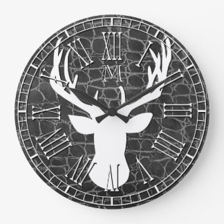 Relógio Grande Couro principal do carvão vegetal do monograma dos