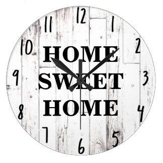 Relógio Grande Cozinha rústica de madeira branca da casa da