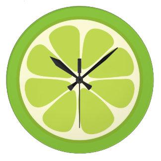 Relógio Grande Cozinha suculenta da fatia dos citrinos do verde