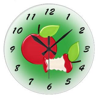 Relógio Grande Cozinha vermelha bonito das maçãs