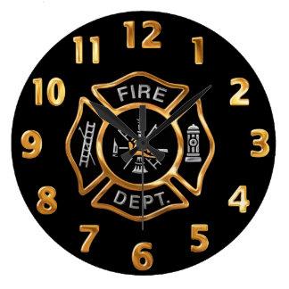 Relógio Grande Crachá do ouro do departamento dos bombeiros