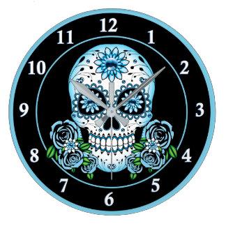 Relógio Grande Crânio azul do açúcar