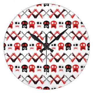 Relógio Grande Crânio cómico com teste padrão colorido cruzado