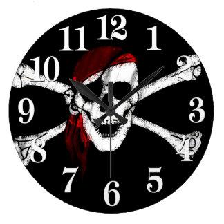 Relógio Grande Crânio e Crossbones do pirata