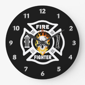 Relógio Grande Crânio flamejante do sapador-bombeiro