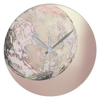 Relógio Grande Cristal abstrato metálico do ouro cor-de-rosa