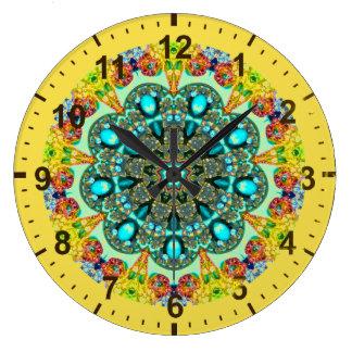 Relógio Grande Cristal do ~ e ~ do Fractal de turquesa