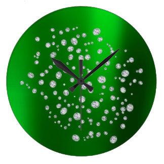 Relógio Grande Cristal esmeralda verde de Swarovski do diamante