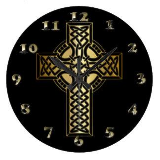 Relógio Grande Cruz celta do nó no ouro e no preto