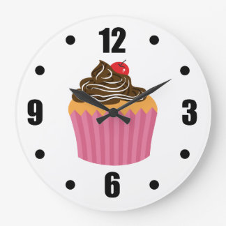 Relógio Grande Cupcake cor-de-rosa bonito