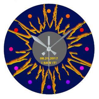 Relógio Grande Customizável engraçado total do eclipse solar