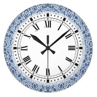 Relógio Grande Damasco elegante azul de Marrocos Casbah