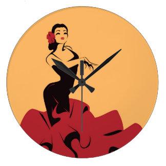 Relógio Grande dançarino do flamenco em uma pose espectacular