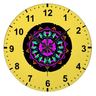 Relógio Grande ~ de néon do Fractal da estrela do ~