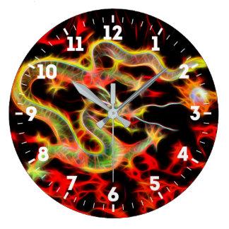 Relógio Grande Decoração do fogo do dragão na energia afortunada