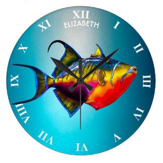 Relógio Grande Desenho colorido psicadélico dos peixes do