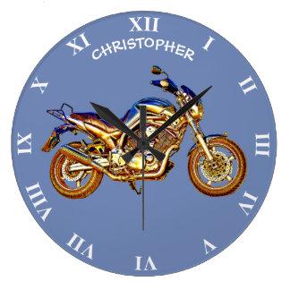 Relógio Grande Desenho oxidado da motocicleta do vintage