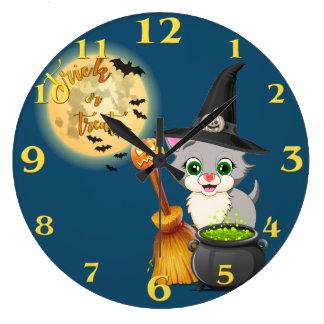 Relógio Grande Desenhos animados cinzentos do Dia das Bruxas do